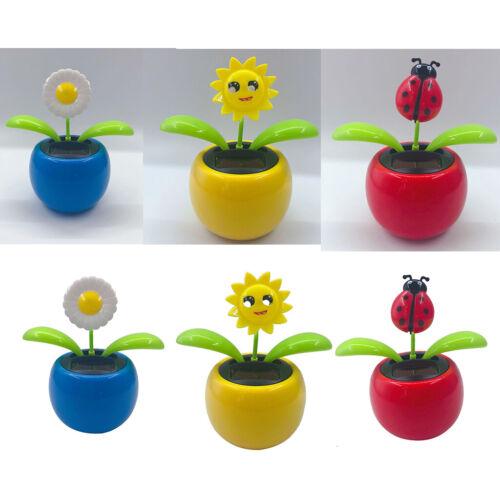 3pcs Solar Power Cartoon Flower Animal Shaking Dancer Dancing Bobble Toy