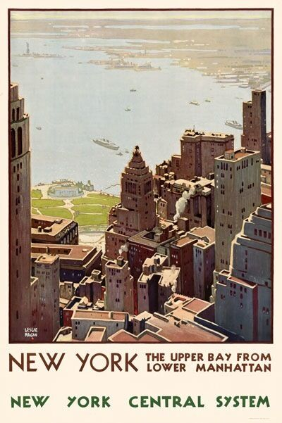 TX258 Vintage 1920's New York Manhattan Travel Poster RePrint A1/A2/A3/A4