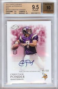 2011-TOPPS-LEGENDS-CHRISTIAN-PONDER-RC-AUTO-49-50-BGS-9-5-10