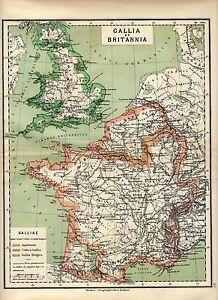 Antique-map-Great-Britain-and-France-Gallia-et-Britannia-carte-1884
