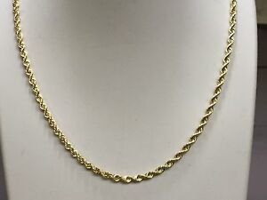 Image Is Loading 14k Solid Gold Rope Pendant Link Chain Necklace