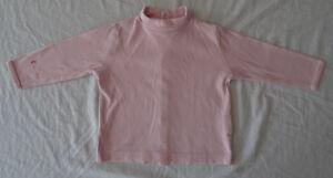 T-shirt rose manches longues, col roulé pour filles, Sucre d'Orge, 18 mois