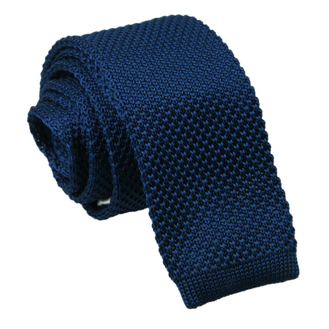 b1e1795ecd80 DQT Knit Knitted Plain Solid Navy Blue Casual Mens SKINNY Tie for ...