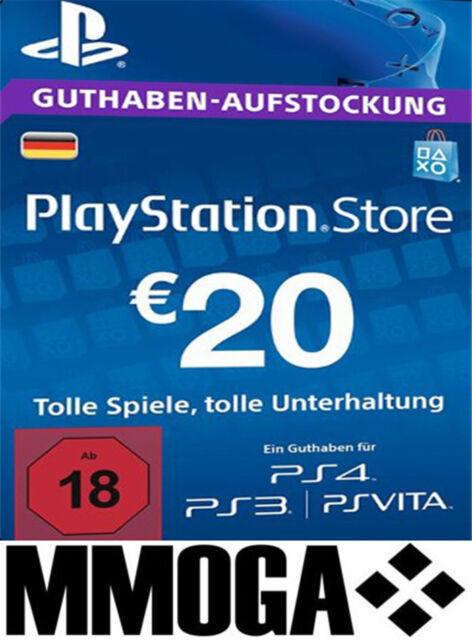 PSN Network Card 20€ EUR - 20 Euro Playstation Prepaid Key Sony PS3 PS4 PSP - DE