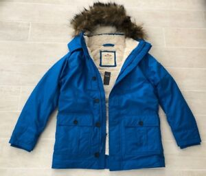 Details about New Hollister Men Coastal Trail Fur Trim Hooded Parka Jacket Coat Blue S