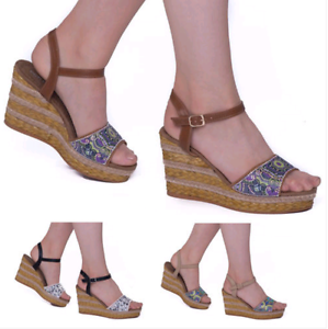 f4a5e841a5be Ladies Women s Floral Wedge Platforms High Heels Ankle Strap Shoes ...