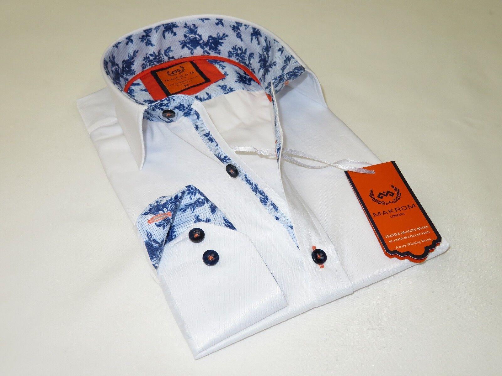 Men MAKROM LONDON Shirt Cotton Blend Wrinkle less Turkey 6283-434 White Floral