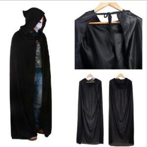 Unisex-Men-Lady-Hooded-Cape-Adult-Long-Cloak-Black-Halloween-Costume-Dress-Coats