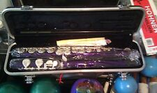 PURPLE FLUTE WITH SILVER-PLATED KEYS KEY OF C PLUSH-LINED HARD CASE, NEW!