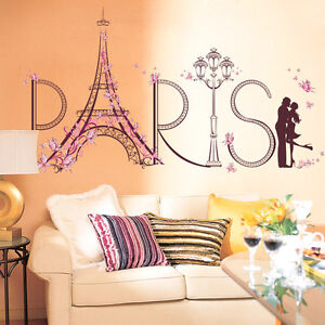 Details About Pvc Removable Pink Paris Eiffel Tower Wall Sticker Home Decor For Room Bedroom