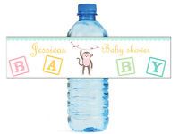 100 Baby Girl Monkey Baby Shower / Birthday Water Bottle Labels Self Stick