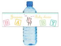 100 Baby Girl Monkey Baby Shower / Birthday Water Bottle Labels Self Stick