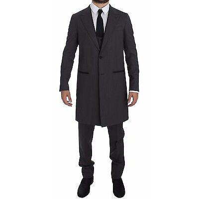NWT $2800 DOLCE & GABBANA Gray Wool Stretch 3 Piece Long Blazer Suit EU46/US36/S
