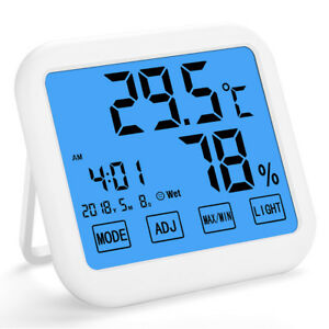 Indoor Digital Thermometer Hygrometer Temperatur Feuchtigkeit Alarm Touchscreen