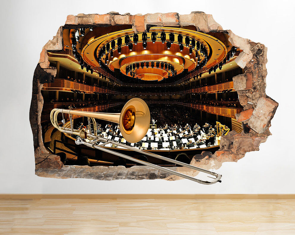 M909 TROMBA ORCHESTRA Music Hall rossoto murali 3D ARTE Adesivi Vinile Stanza