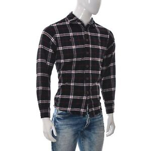 Wrangler Men Casual Button Up Cotton Flannel Shirt Long Sleeve Size Small Plaid