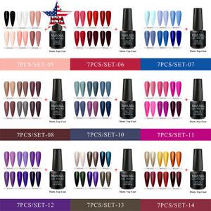 RBAN-NAIL-7bottles-Soak-Off-Color-UV-Gel-Nail-Polish-Varnish-Matte-Top-Coat-Set