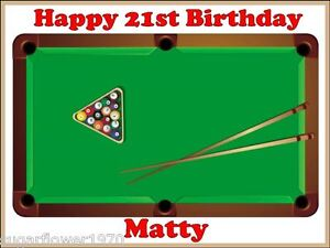 Tremendous Personalised Pool Table Edible Birthday Cake Topper Rectangle Easy Personalised Birthday Cards Akebfashionlily Jamesorg