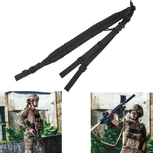 Tactical 2 Two Point Sling Strap Bungee Rifle Gun Sling with QD Buckle Black