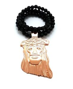 Details About Large Gold Holy Jesus Face Pendant Necklace 6mm 30 Black Wooden Chain
