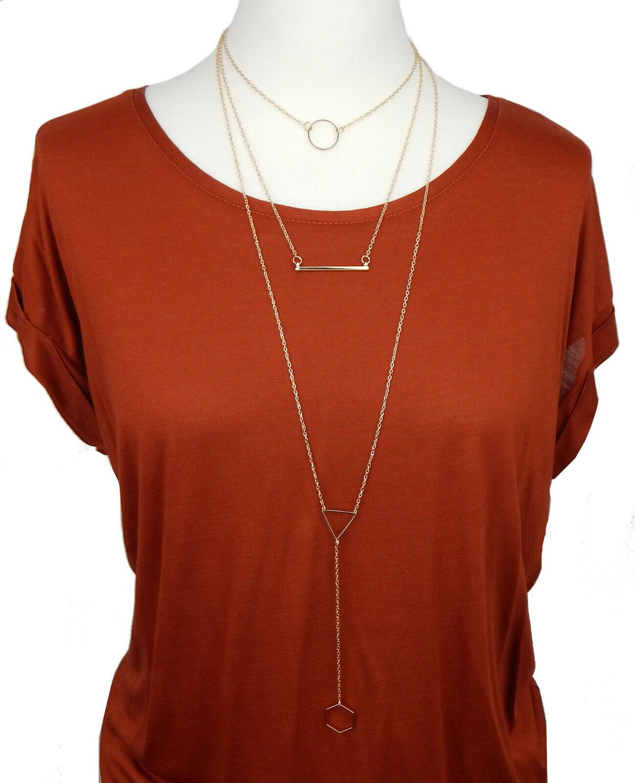Cadena Oro Urban Chic By Ella Jonte Gráfico Diseño Largo Triple Vara Collar