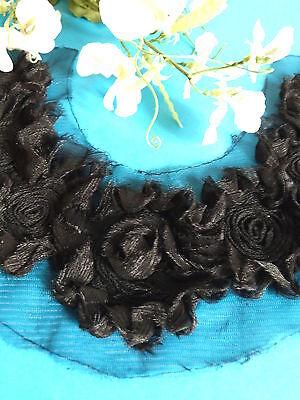 "Linens & Textiles (pre-1930) Dedicated 428# Delightful Plastron Application "" Whirlpool Black "" Tulle Organza Vintage"