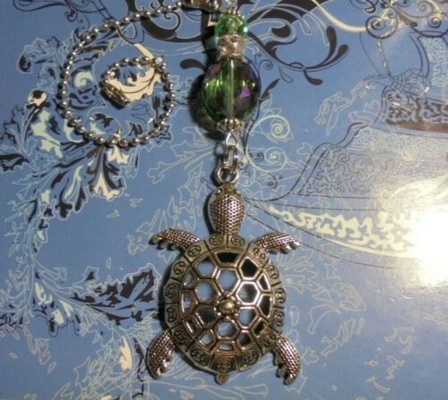 XLarge Turtle Crystal~Ceiling Fan Pull~Hook on Chain//Lamps//Auto*~Silver