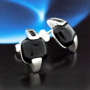 Onyx-Silber-925-Ohrringe-Damen-Schmuck-Sterlingsilber-S230