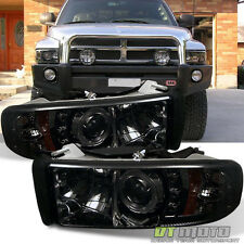 Smoked 94-01 Dodge Ram Dual Halo LED Projector Headlights Lights Lamp Left+Right