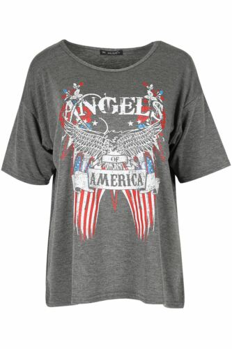 Womens Ladies Angels of America Bald Eagle Batwing Sleeve Oversized T Shirt Top