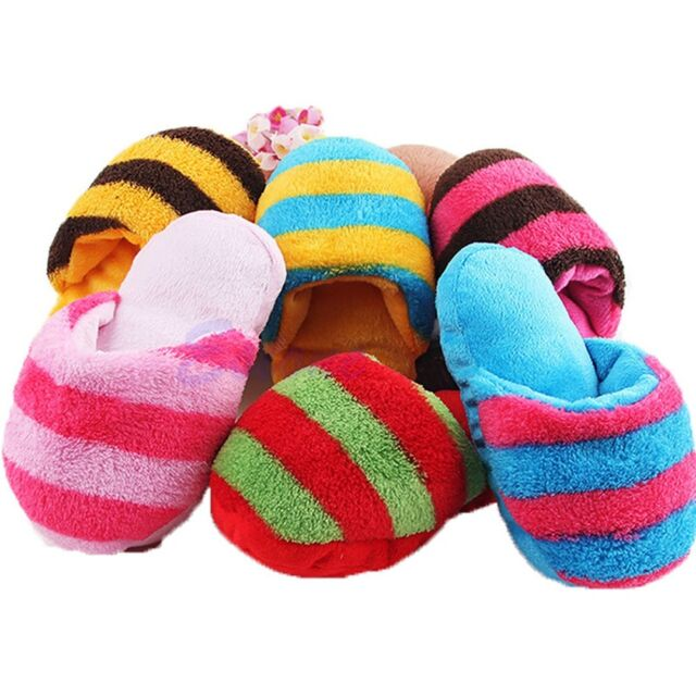 1Pc Dog Toy Pet Puppy Chew Play Squeaky Squeaker Sound Cute Plush Slipper Shape