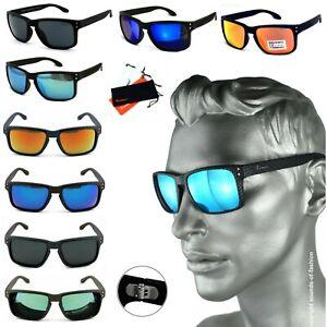 Rennec-Sonnenbrille-Verspiegelt-Nerd-Rechteckig-Carbon-oder-Matt-Schwarz-14A14CB