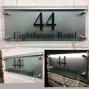Details About Modern House Sign Plaque Door Number Street Glass Acrylic Aluminium Led Sign