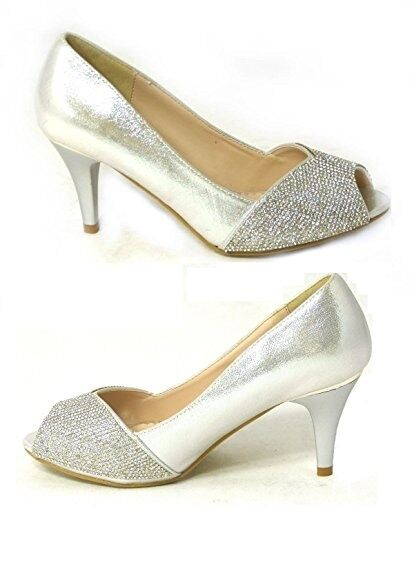 88d3f41faba1 Ladies Low Heel Diamante PEEP Toe Womens Sparkly Party Prom Wedding Bridal  Shoes Silver UK 5 Bs80367-06 Block 3 - Lane 8 for sale online