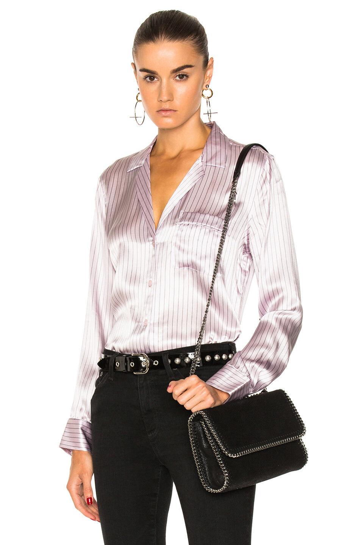 NWT Equipment Keira Stripe Silk Shirt Rosa Frost True schwarz Größe S
