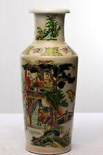 Antique Chinese Rouleau Porcelain Vase Kangxi marks Pavillion & Figures Buddhist