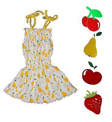 Baby Toddler Dress Retro Cotton Strawberry Cherry Pear Apple Size 2 3 EU Made