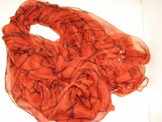 "New Fashion 100% Silk Scarf Print Design 70"" X 42"" Orange & Black"