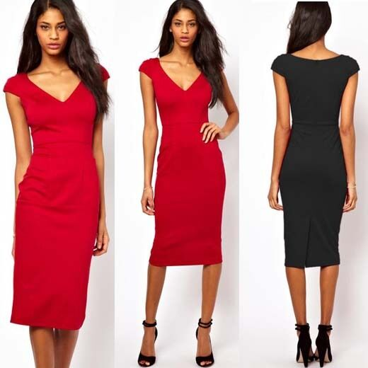 Sexy Women Business Deep V neck Club Casual Party Summer Pencil Midi Dress Ng284