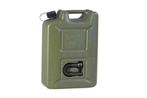 Benzinkanister  3 x 20 Liter Kunststoff inklusive 3 Auslaufrohre  Farbe oliv