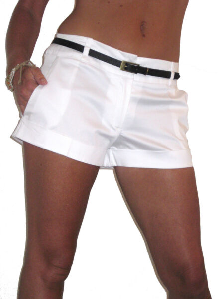 (1219) Towie Shorts Hot Pants Free Skinny Belt White Sizes 8-16 Non Repassant