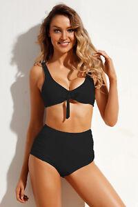 7e4659e07dff Bañador bikini talle alto negro bragas con volados sujetador ...