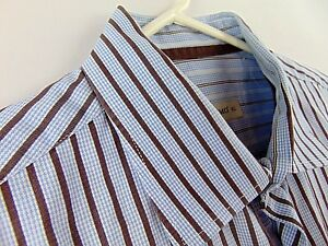 Pronto-Uomo-Mens-XL-Dress-Shirt-Blue-Brown-Stripes-Size-Extra-Large-Long-Sleeve