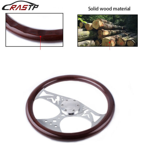 "Racing 380mm 15/"" Classic Wood Grain Deep Dish with Hollow Angel Steering Wheel"