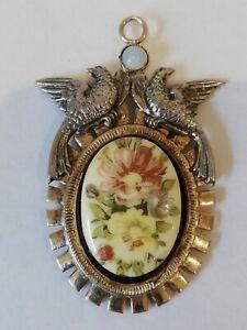 Ancien-pendentif-Oiseaux-et-Fleurs-peintes-a-la-main