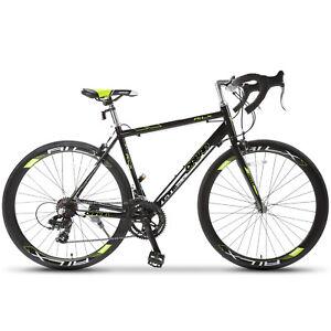 Racing-Bicycle-Shimano-700C-X-54C-Road-Bike-14-Speed-Aluminum-Frame-Steel-Fork