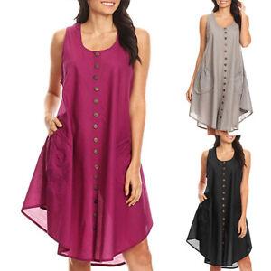 Details zu Damen Sommer Ärmellos Shirtkleid Blusenkleid Übergröße Taschen Mini Trägerkleid