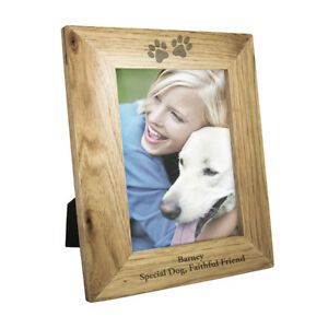 Personalised-Engraved-Paw-Print-Photo-Frame-Pets-Gift-Dog-Puppy-Cat-Wooden