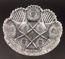 Antique Lead Crystal Cut Glass Bowl Hobstar and Prism Vintage Signed British