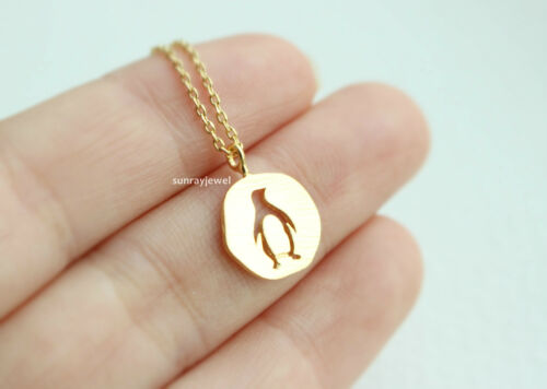 Coin Necklace Gift Penguin Necklace Minimal Simple Animal Necklace